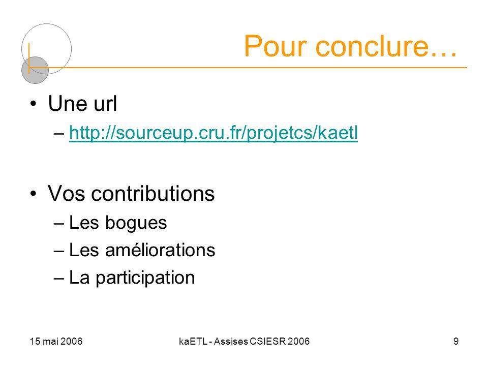 15 mai 2006kaETL - Assises CSIESR 20069 Pour conclure… Une url –http://sourceup.cru.fr/projetcs/kaetlhttp://sourceup.cru.fr/projetcs/kaetl Vos contrib