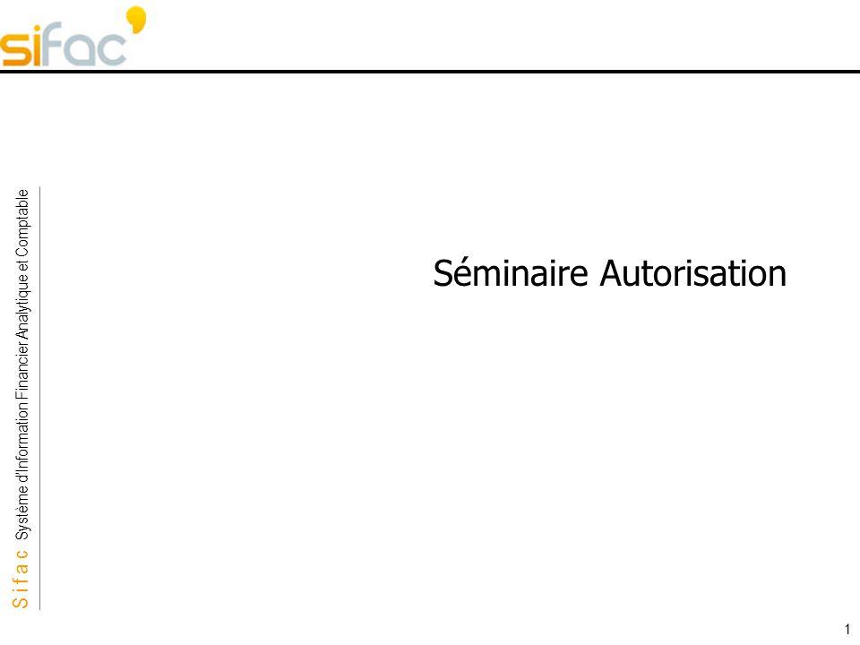 S i f a c Système dInformation Financier Analytique et Comptable Sifac 1 Séminaire Autorisation