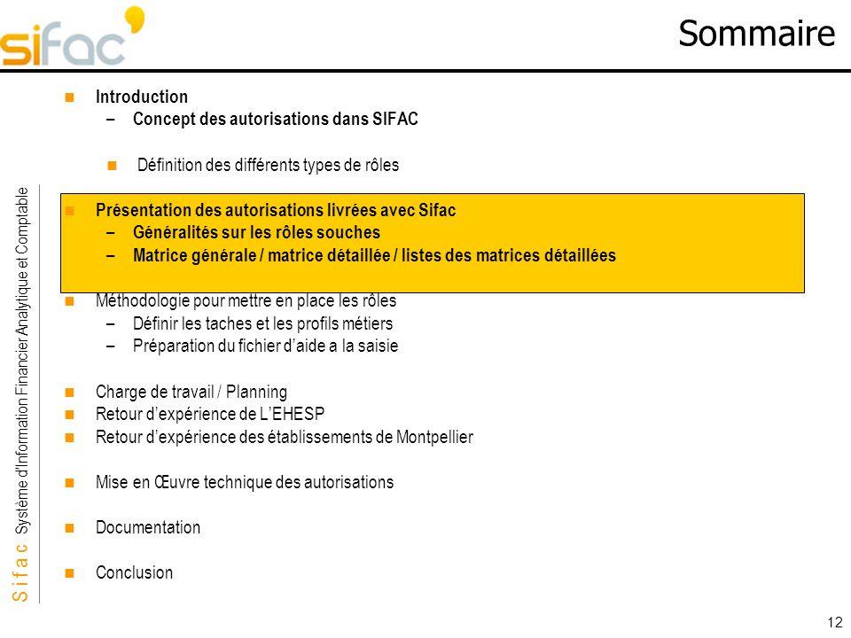 S i f a c Système dInformation Financier Analytique et Comptable Sifac 12 Sommaire Introduction – Concept des autorisations dans SIFAC Définition des