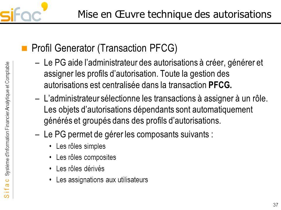 S i f a c Système dInformation Financier Analytique et Comptable Sifac 37 Mise en Œuvre technique des autorisations Profil Generator (Transaction PFCG