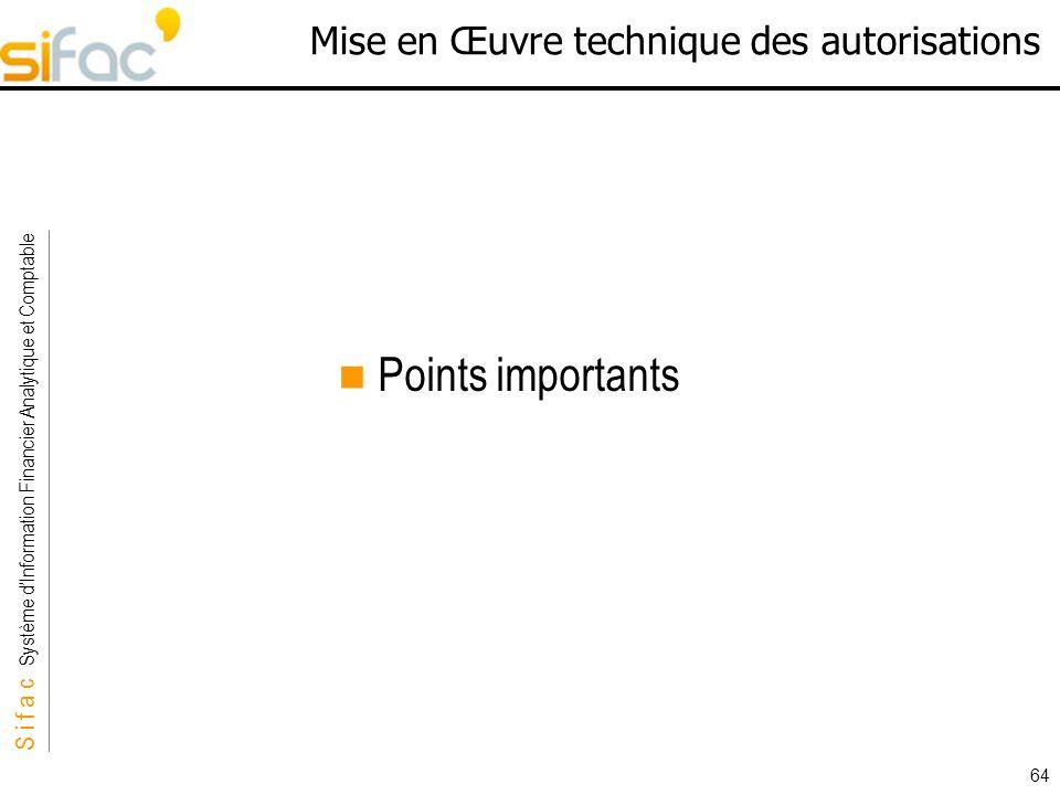 S i f a c Système dInformation Financier Analytique et Comptable Sifac 64 Mise en Œuvre technique des autorisations Points importants