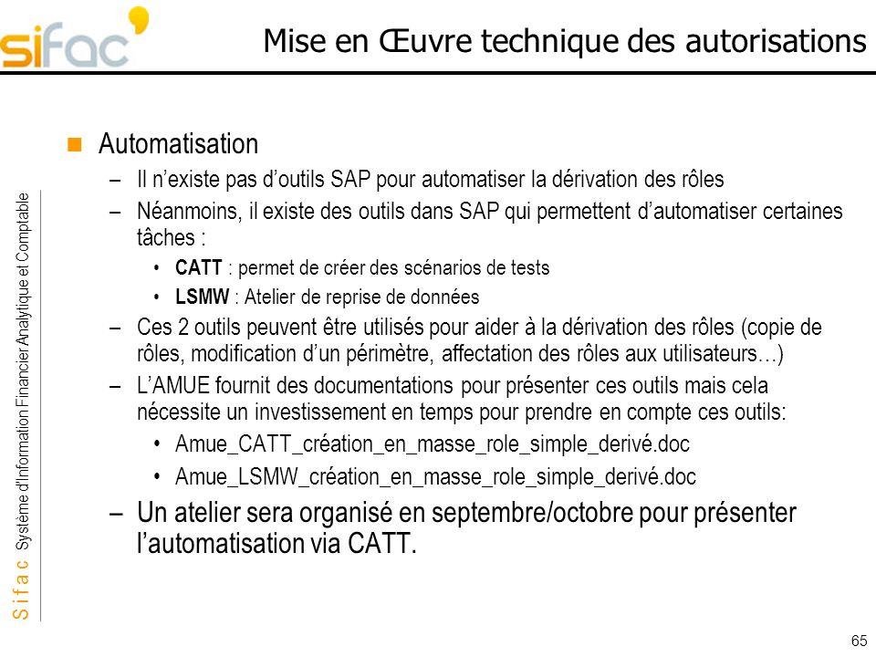 S i f a c Système dInformation Financier Analytique et Comptable Sifac 65 Mise en Œuvre technique des autorisations Automatisation –Il nexiste pas dou