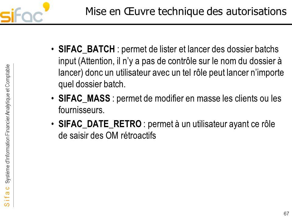 S i f a c Système dInformation Financier Analytique et Comptable Sifac 67 Mise en Œuvre technique des autorisations SIFAC_BATCH : permet de lister et