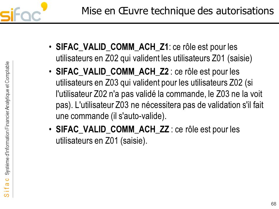 S i f a c Système dInformation Financier Analytique et Comptable Sifac 68 Mise en Œuvre technique des autorisations SIFAC_VALID_COMM_ACH_Z1 : ce rôle