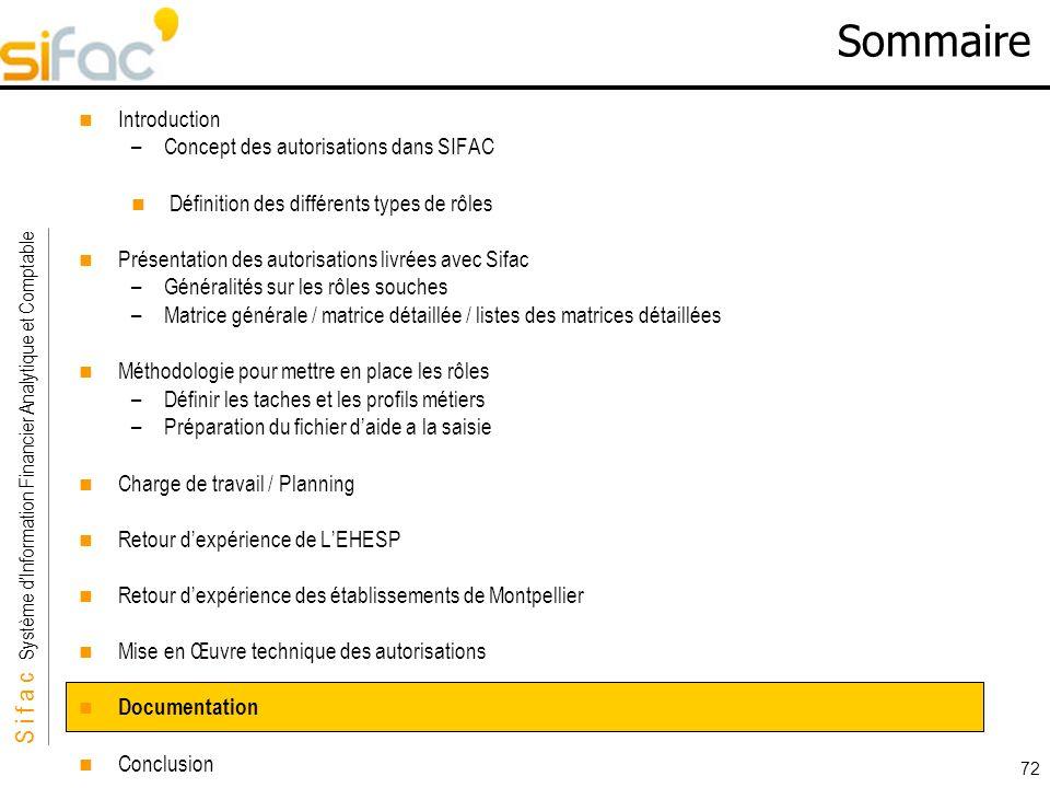 S i f a c Système dInformation Financier Analytique et Comptable Sifac 72 Sommaire Introduction –Concept des autorisations dans SIFAC Définition des d