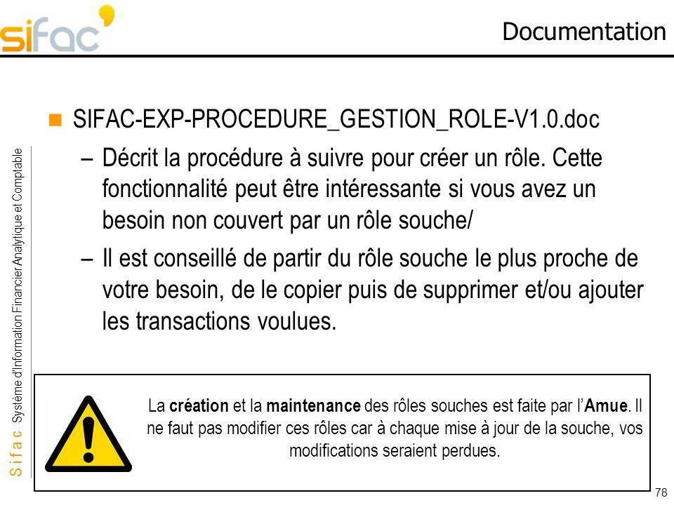 S i f a c Système dInformation Financier Analytique et Comptable Sifac 78 Documentation SIFAC-EXP-PROCEDURE_GESTION_ROLE-V1.0.doc –Décrit la procédure