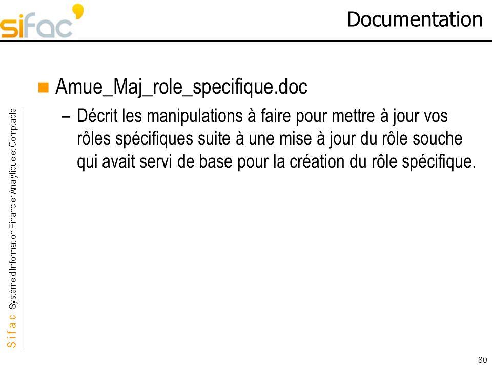 S i f a c Système dInformation Financier Analytique et Comptable Sifac 80 Documentation Amue_Maj_role_specifique.doc –Décrit les manipulations à faire