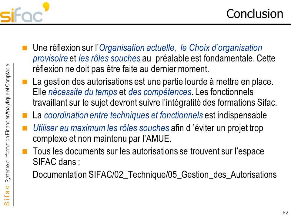 S i f a c Système dInformation Financier Analytique et Comptable Sifac 82 Conclusion Une réflexion sur l Organisation actuelle, le Choix dorganisation
