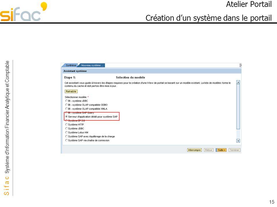 S i f a c Système dInformation Financier Analytique et Comptable Sifac 15 Atelier Portail Création dun système dans le portail