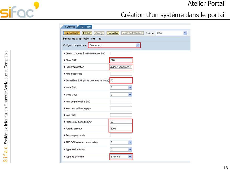 S i f a c Système dInformation Financier Analytique et Comptable Sifac 16 Atelier Portail Création dun système dans le portail