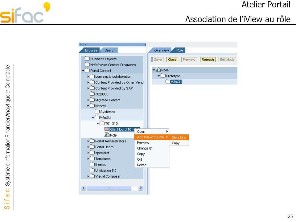 S i f a c Système dInformation Financier Analytique et Comptable Sifac 25 Atelier Portail Association de liView au rôle