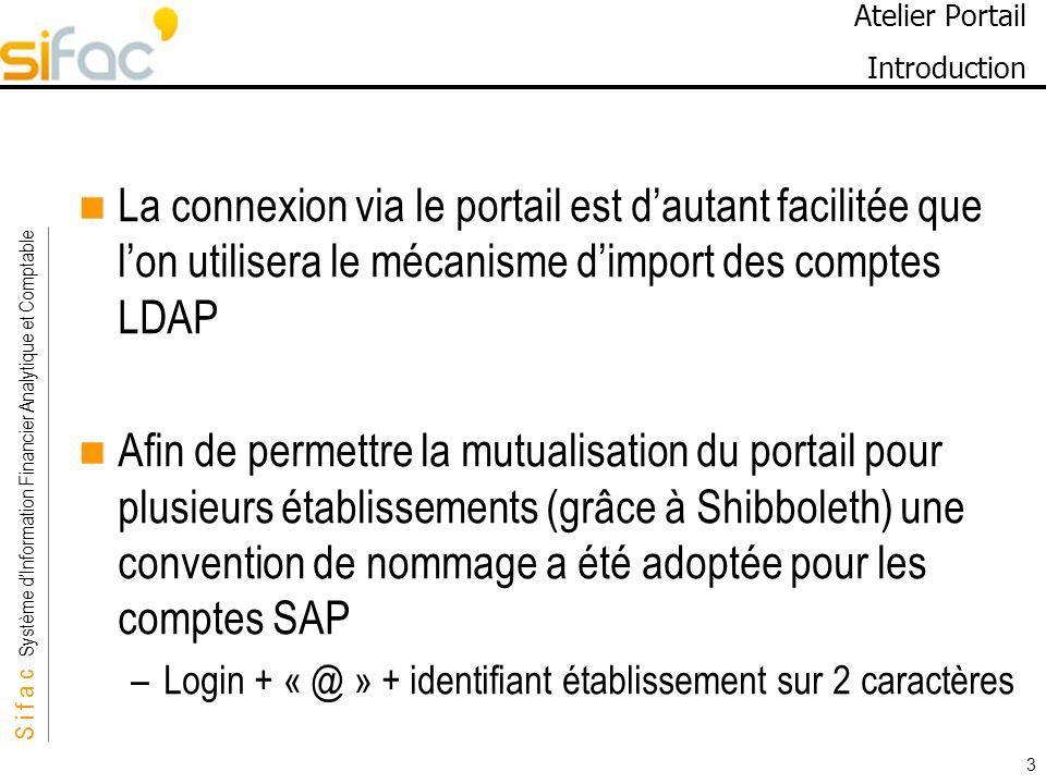 S i f a c Système dInformation Financier Analytique et Comptable Sifac 3 Atelier Portail Introduction La connexion via le portail est dautant facilité