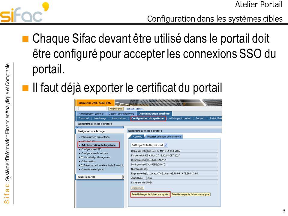 S i f a c Système dInformation Financier Analytique et Comptable Sifac 6 Atelier Portail Configuration dans les systèmes cibles Chaque Sifac devant être utilisé dans le portail doit être configuré pour accepter les connexions SSO du portail.