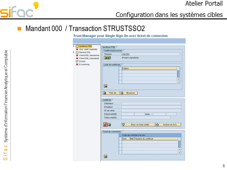 S i f a c Système dInformation Financier Analytique et Comptable Sifac 8 Atelier Portail Configuration dans les systèmes cibles Mandant 000 / Transaction STRUSTSSO2