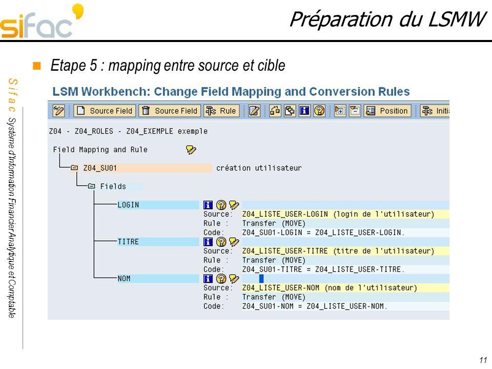 S i f a c Système dInformation Financier Analytique et Comptable Sifac 11 Préparation du LSMW Etape 5 : mapping entre source et cible