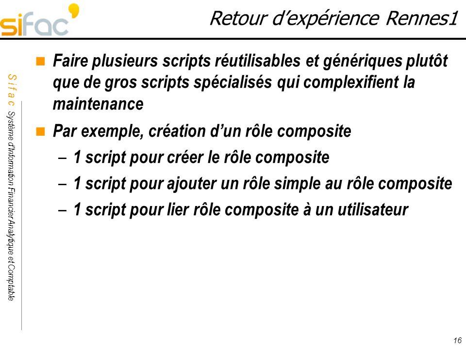 S i f a c Système dInformation Financier Analytique et Comptable Sifac 16 Retour dexpérience Rennes1 Faire plusieurs scripts réutilisables et génériqu