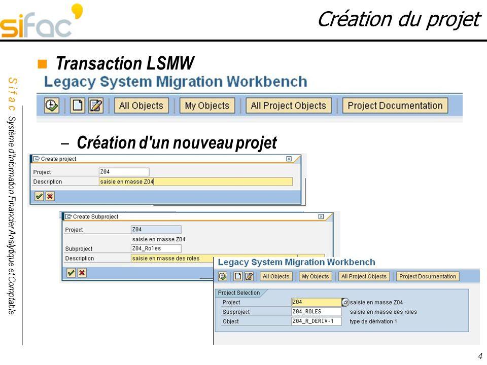S i f a c Système dInformation Financier Analytique et Comptable Sifac 4 Création du projet Transaction LSMW – Création d'un nouveau projet
