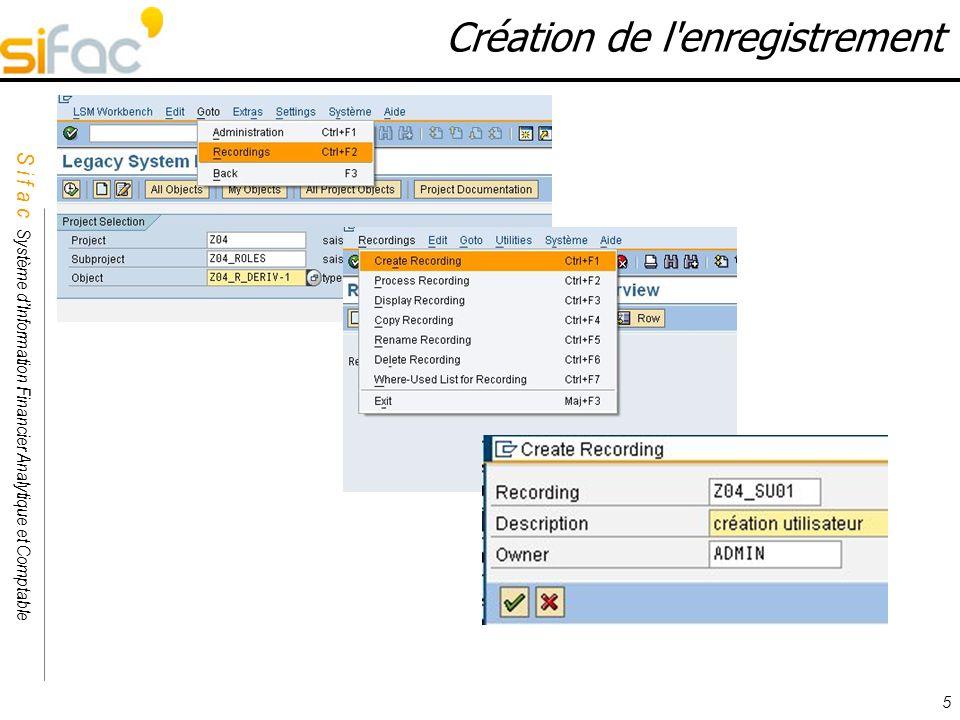 S i f a c Système dInformation Financier Analytique et Comptable Sifac 5 Création de l'enregistrement