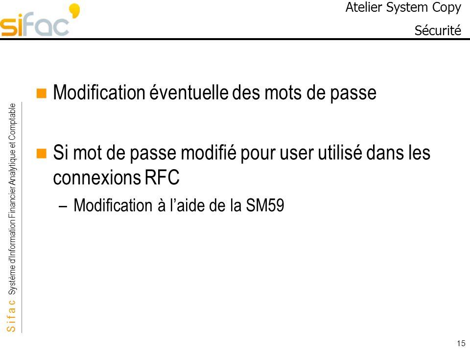 S i f a c Système dInformation Financier Analytique et Comptable Sifac 15 Atelier System Copy Sécurité Modification éventuelle des mots de passe Si mo
