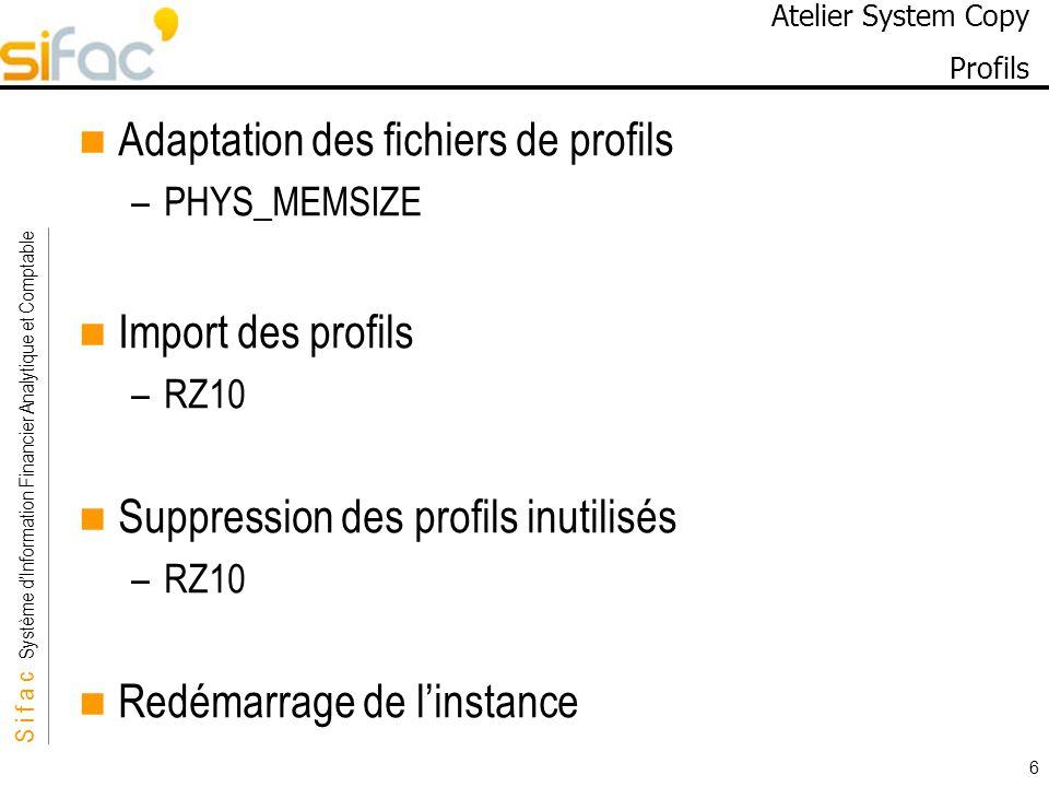S i f a c Système dInformation Financier Analytique et Comptable Sifac 6 Atelier System Copy Profils Adaptation des fichiers de profils –PHYS_MEMSIZE