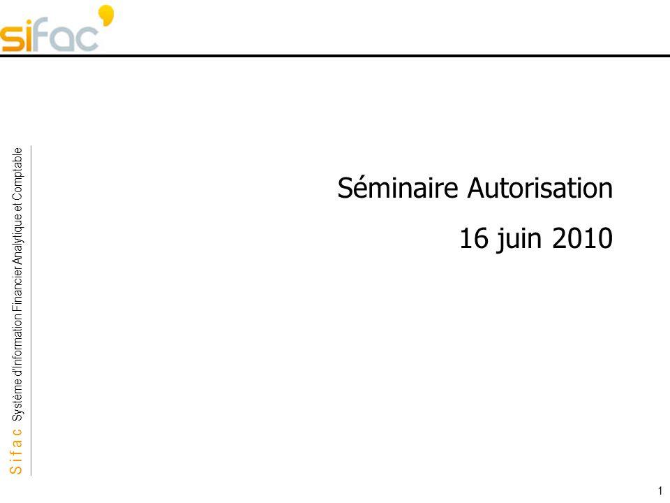 S i f a c Système dInformation Financier Analytique et Comptable Sifac 1 Séminaire Autorisation 16 juin 2010