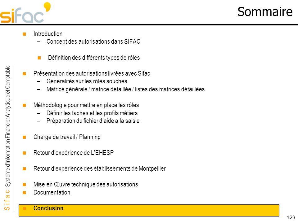 S i f a c Système dInformation Financier Analytique et Comptable Sifac 129 Sommaire Introduction –Concept des autorisations dans SIFAC Définition des