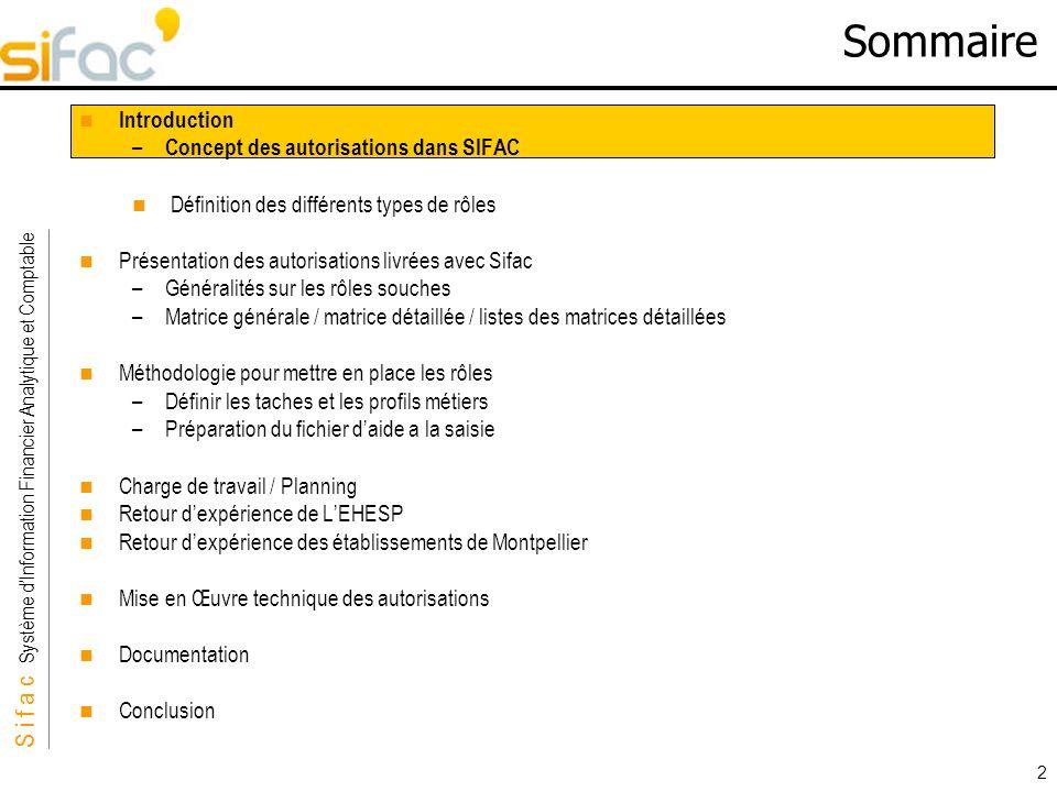 S i f a c Système dInformation Financier Analytique et Comptable Sifac 113 Mise en Œuvre technique des autorisations Automatisation –Il nexiste pas doutils SAP pour automatiser la dérivation des rôles –Néanmoins, il existe des outils dans SAP qui permettent dautomatiser certaines tâches : CATT : permet de créer des scénarios de tests LSMW : Atelier de reprise de données –Ces 2 outils peuvent être utilisés pour aider à la dérivation des rôles (copie de rôles, modification dun périmètre, affectation des rôles aux utilisateurs…) –LAMUE fournit des documentations pour présenter ces outils mais cela nécessite un investissement en temps pour prendre en compte ces outils: Amue_CATT_création_en_masse_role_simple_derivé.doc Amue_LSMW_création_en_masse_role_simple_derivé.doc –Un atelier sera organisé en septembre/octobre pour présenter lautomatisation via CATT.