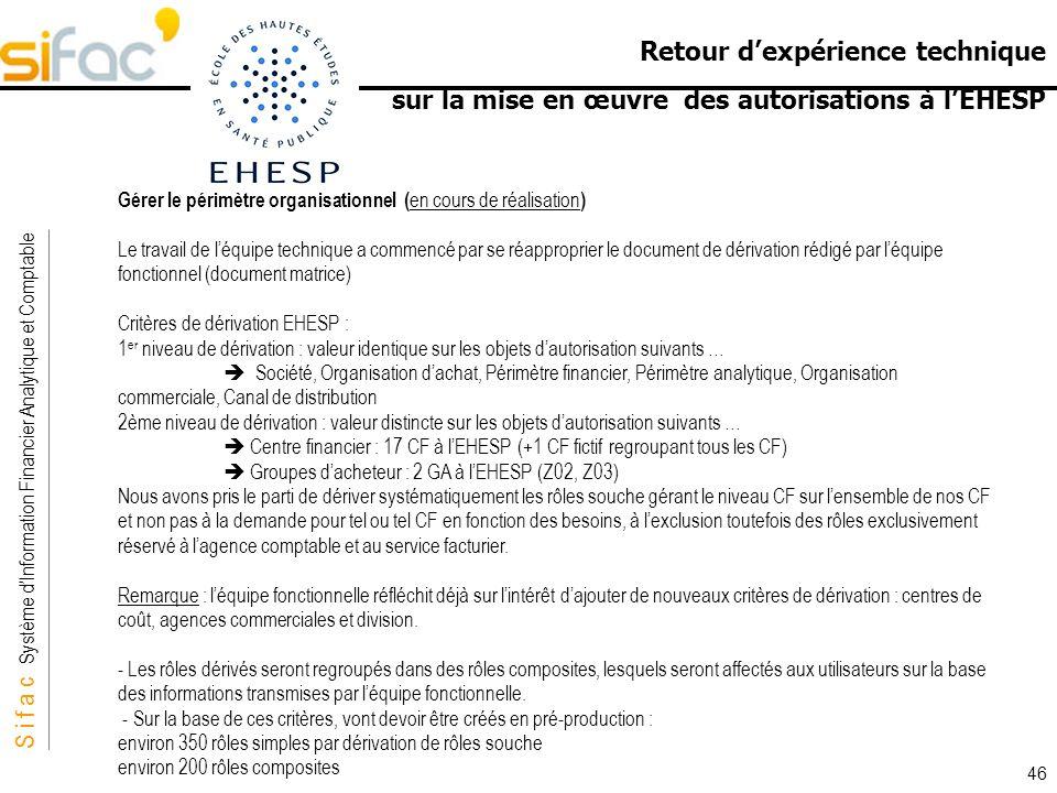 S i f a c Système dInformation Financier Analytique et Comptable Sifac Retour dexpérience technique sur la mise en œuvre des autorisations à lEHESP 46