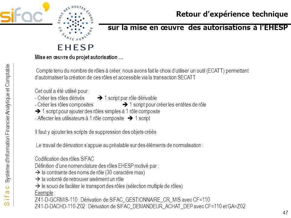 S i f a c Système dInformation Financier Analytique et Comptable Sifac Retour dexpérience technique sur la mise en œuvre des autorisations à lEHESP 47