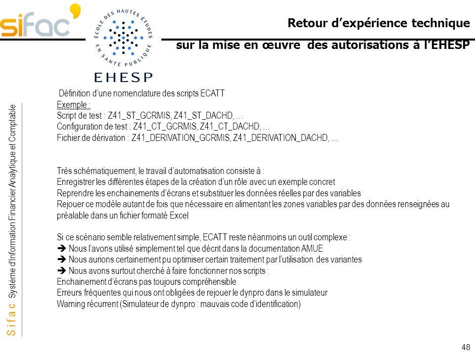 S i f a c Système dInformation Financier Analytique et Comptable Sifac Retour dexpérience technique sur la mise en œuvre des autorisations à lEHESP 48