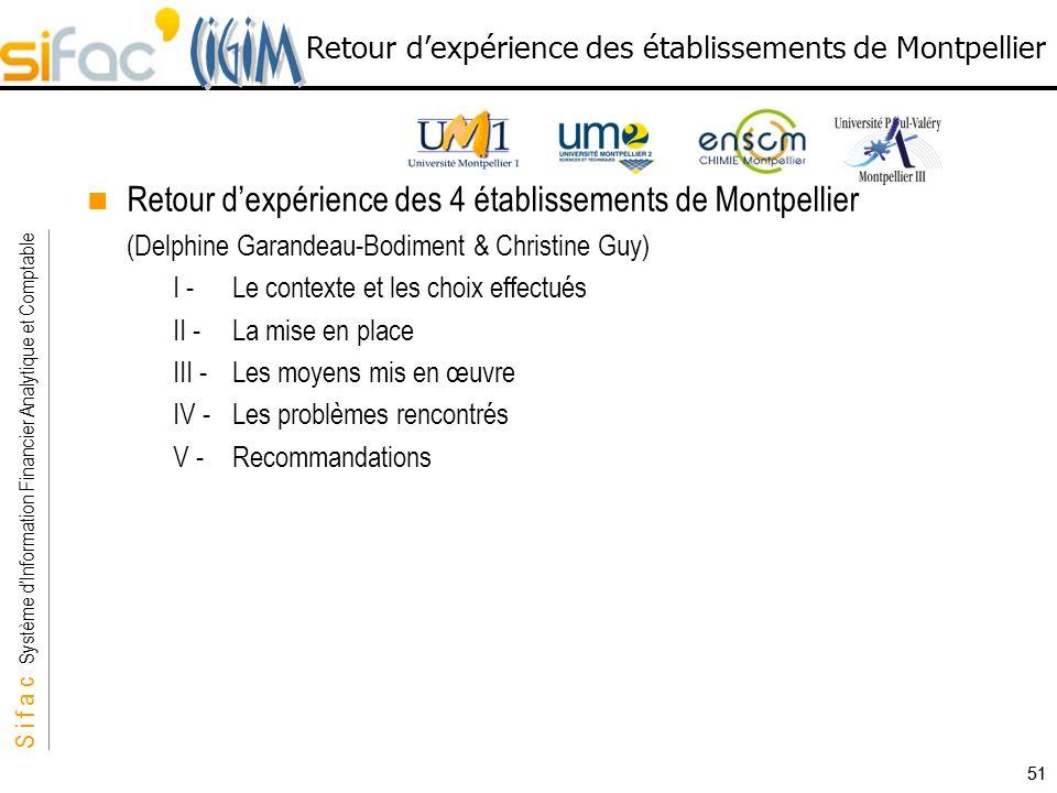 S i f a c Système dInformation Financier Analytique et Comptable Sifac 51 Retour dexpérience des 4 établissements de Montpellier (Delphine Garandeau-B