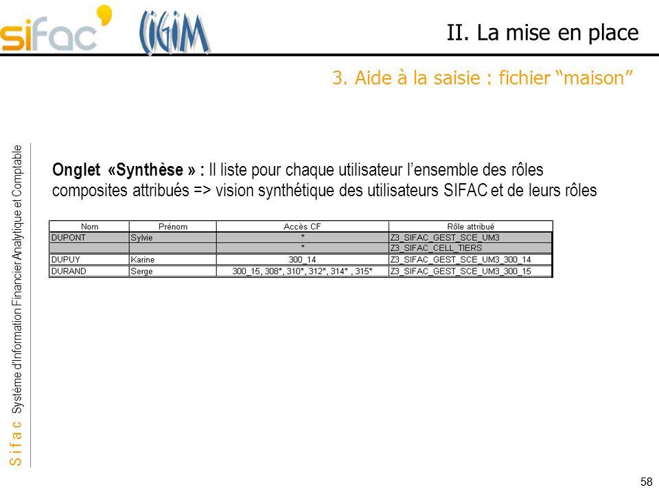 S i f a c Système dInformation Financier Analytique et Comptable Sifac 58 II. La mise en place 3. Aide à la saisie : fichier maison Onglet «Synthèse »