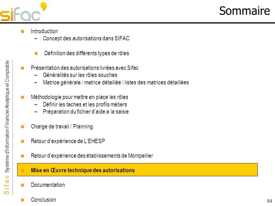 S i f a c Système dInformation Financier Analytique et Comptable Sifac 64 Sommaire Introduction –Concept des autorisations dans SIFAC Définition des d
