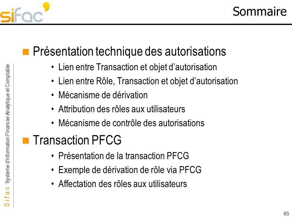 S i f a c Système dInformation Financier Analytique et Comptable Sifac 65 Sommaire Présentation technique des autorisations Lien entre Transaction et