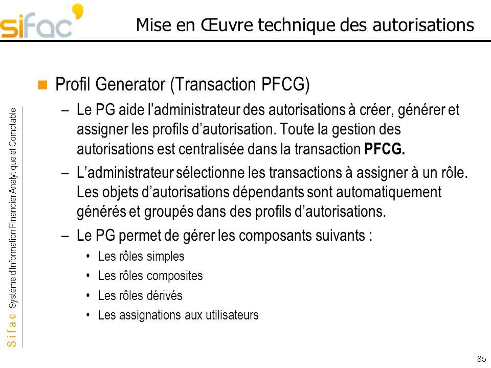 S i f a c Système dInformation Financier Analytique et Comptable Sifac 85 Mise en Œuvre technique des autorisations Profil Generator (Transaction PFCG