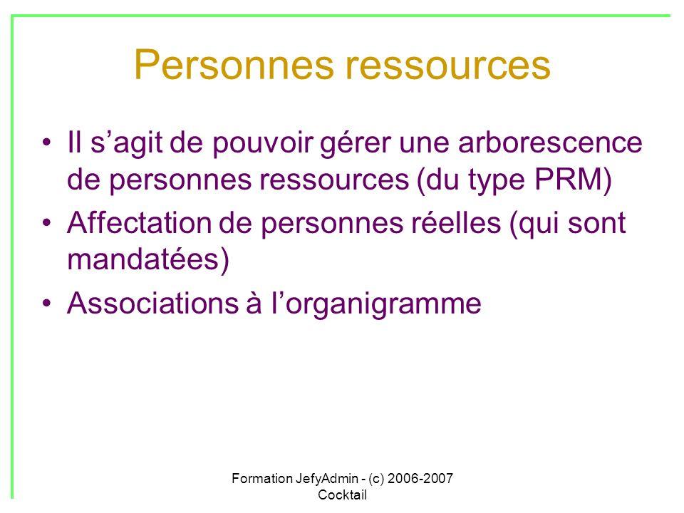 Formation JefyAdmin - (c) 2006-2007 Cocktail Personnes ressources Il sagit de pouvoir gérer une arborescence de personnes ressources (du type PRM) Aff