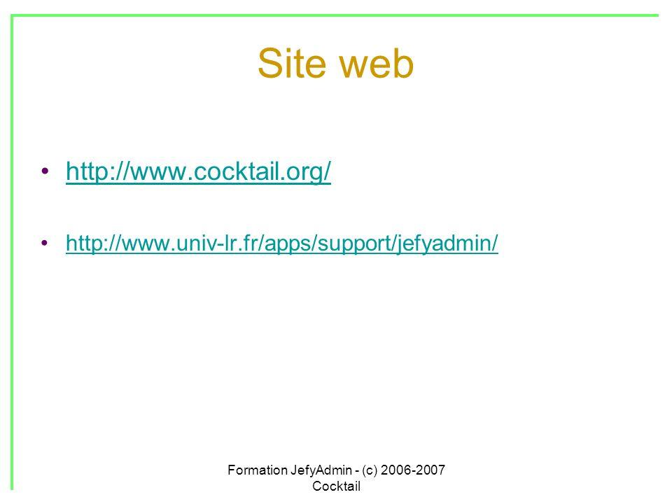 Formation JefyAdmin - (c) 2006-2007 Cocktail Site web http://www.cocktail.org/ http://www.univ-lr.fr/apps/support/jefyadmin/