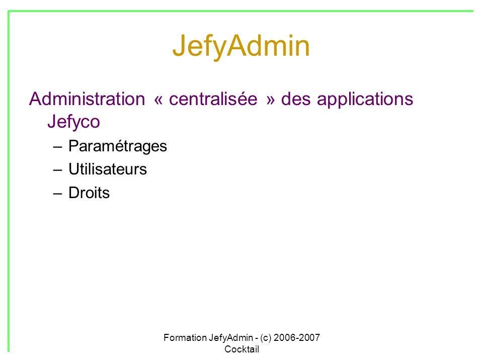 Formation JefyAdmin - (c) 2006-2007 Cocktail JefyAdmin Administration « centralisée » des applications Jefyco –Paramétrages –Utilisateurs –Droits