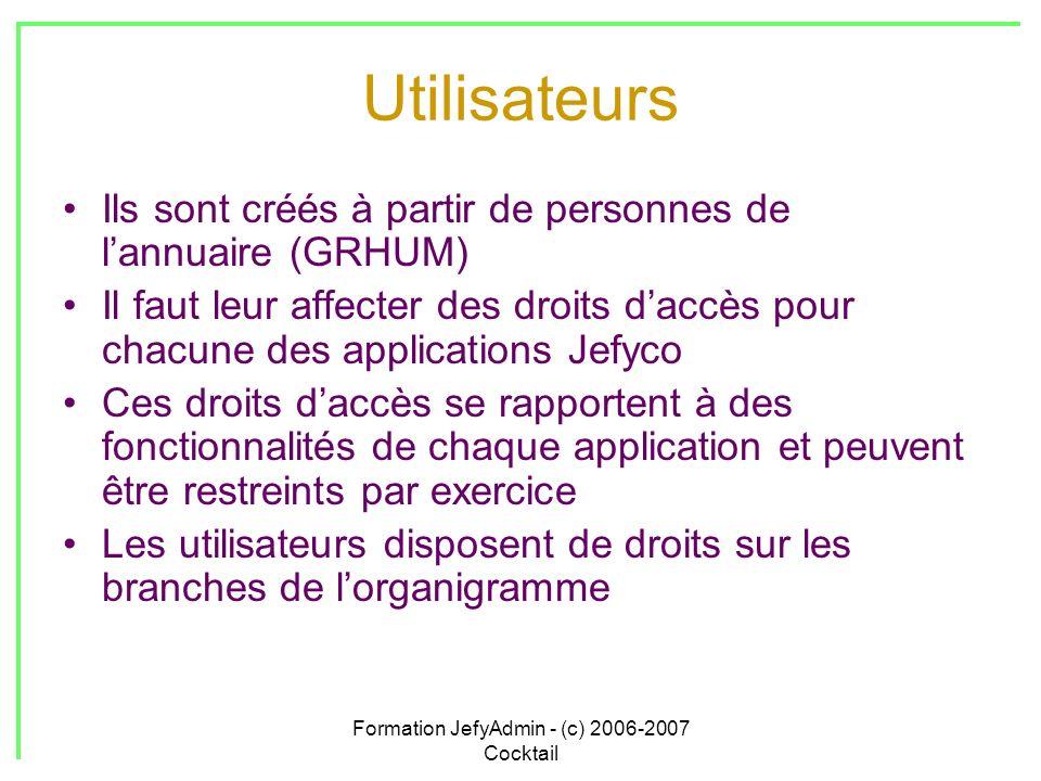 Formation JefyAdmin - (c) 2006-2007 Cocktail Utilisateurs Ils sont créés à partir de personnes de lannuaire (GRHUM) Il faut leur affecter des droits d