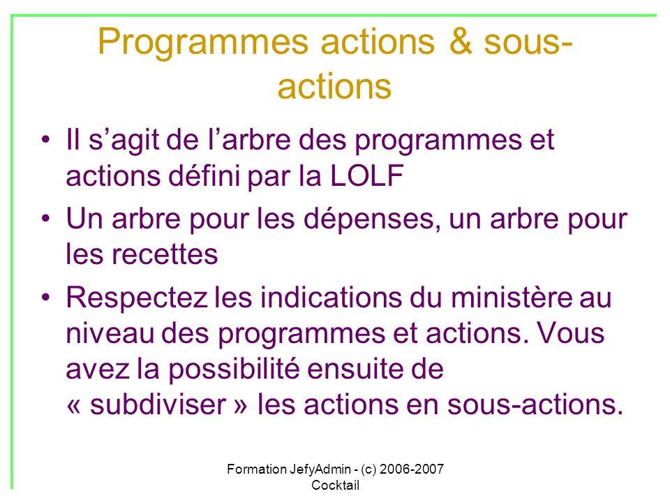Formation JefyAdmin - (c) 2006-2007 Cocktail Programmes actions & sous- actions Il sagit de larbre des programmes et actions défini par la LOLF Un arb