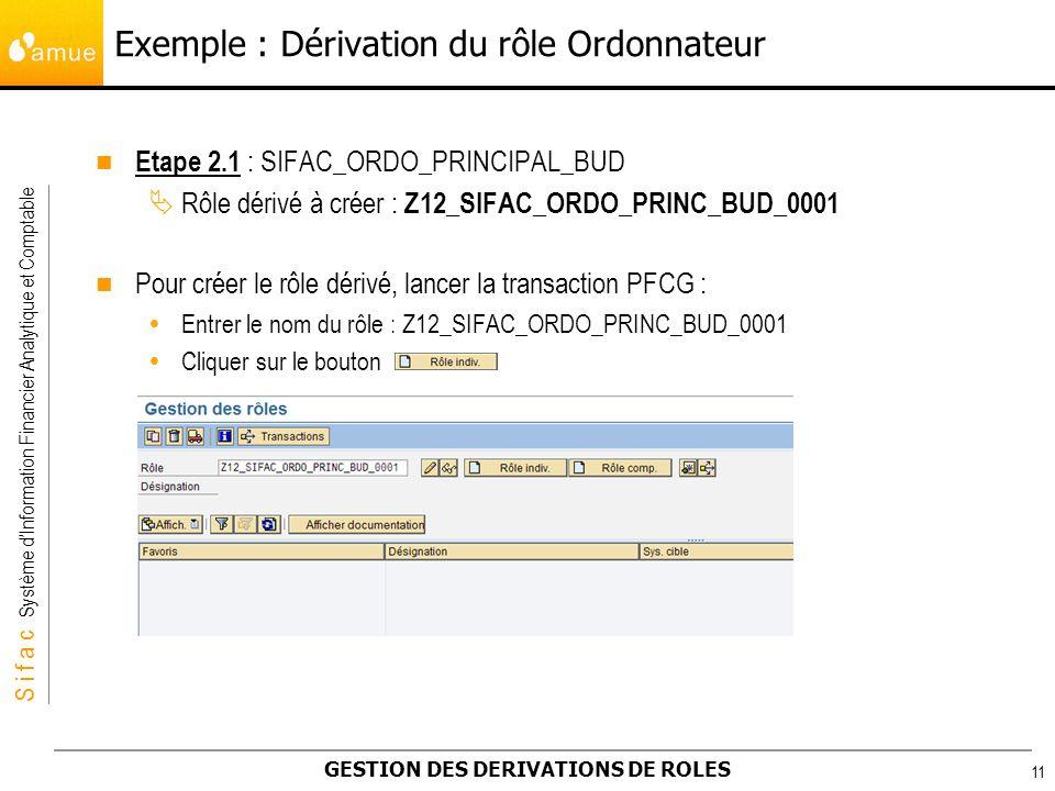 S i f a c Système dInformation Financier Analytique et Comptable GESTION DES DERIVATIONS DE ROLES 11 Etape 2.1 : SIFAC_ORDO_PRINCIPAL_BUD Rôle dérivé