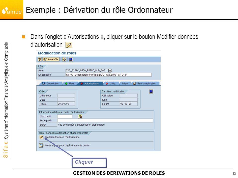 S i f a c Système dInformation Financier Analytique et Comptable GESTION DES DERIVATIONS DE ROLES 13 Dans longlet « Autorisations », cliquer sur le bo