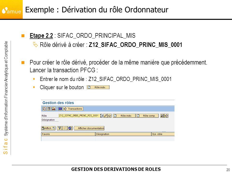 S i f a c Système dInformation Financier Analytique et Comptable GESTION DES DERIVATIONS DE ROLES 20 Etape 2.2 : SIFAC_ORDO_PRINCIPAL_MIS Rôle dérivé
