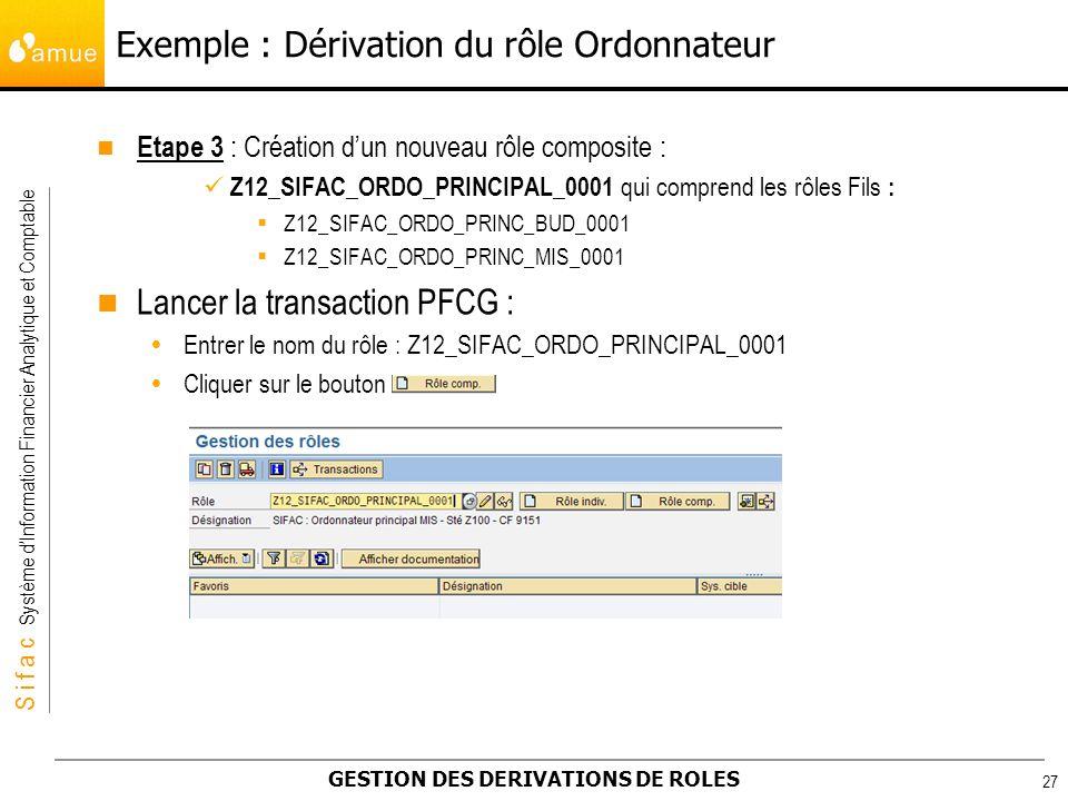 S i f a c Système dInformation Financier Analytique et Comptable GESTION DES DERIVATIONS DE ROLES 27 Etape 3 : Création dun nouveau rôle composite : Z