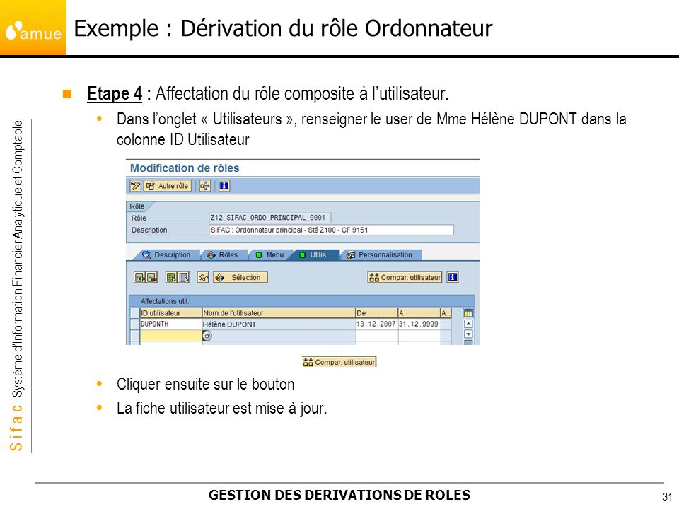 S i f a c Système dInformation Financier Analytique et Comptable GESTION DES DERIVATIONS DE ROLES 31 Etape 4 : Affectation du rôle composite à lutilis