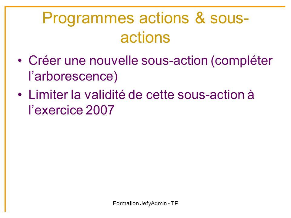 Formation JefyAdmin - TP Programmes actions & sous- actions Créer une nouvelle sous-action (compléter larborescence) Limiter la validité de cette sous