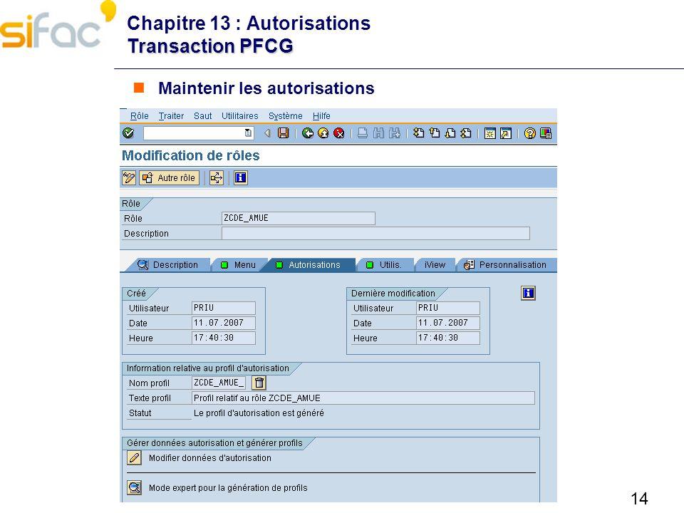 14 Transaction PFCG Chapitre 13 : Autorisations Transaction PFCG Maintenir les autorisations