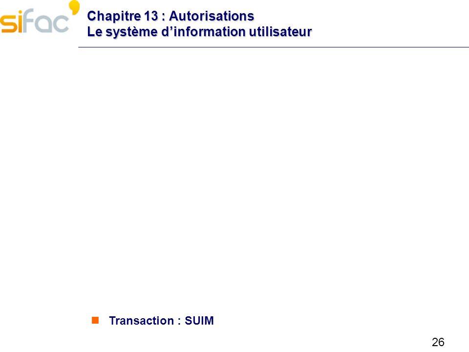 26 Chapitre 13 : Autorisations Le système dinformation utilisateur Transaction : SUIM
