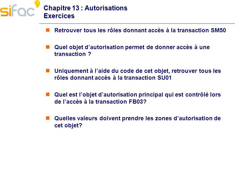 Chapitre 13 : Autorisations Exercices Retrouver tous les rôles donnant accès à la transaction SM50 Quel objet dautorisation permet de donner accès à u