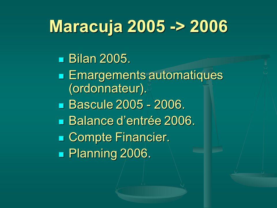 Maracuja 2005 -> 2006 Bilan 2005. Bilan 2005. Emargements automatiques (ordonnateur). Emargements automatiques (ordonnateur). Bascule 2005 - 2006. Bas